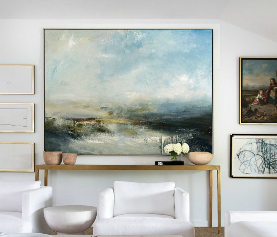 Large Sky And Sea Painting,Sky Landscape Painting,Large Wall Ocean Painting,Original Sky And Sea Canvas Painting,Marine Landscape Painting,Canvas Photo Cheap