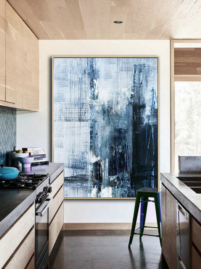 Original Deep Blue Abstract Art,Minimalist Abstract Painting,Large Abstract Oil Painting,Living Room Art Painting,Large Wall Canvas Painting,Art For Sale