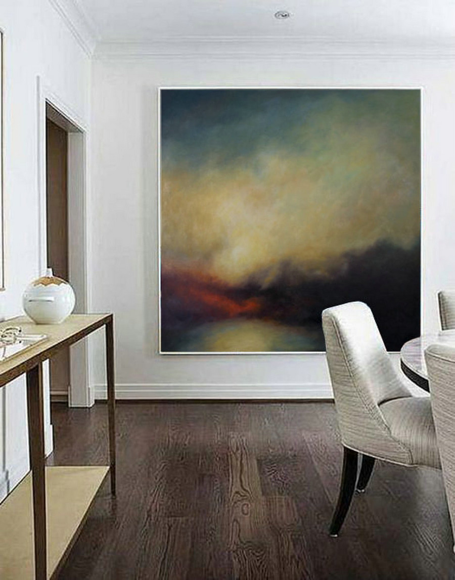 Sky Abstract Art Painting,Large Canvas Oil Painting,Nature Wall Art,Hand-Painted Large Canvas Painting Wall Art,Heavy Rain Oil Painting Art,Contemporary Canvas Wall Art