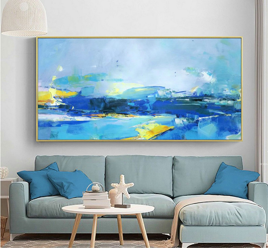 Deep Blue Abstract Painting Yellow Abstract Painting,Original Abstract Art Painting,Abstract Painting On Canvas,Large Wall Canvas Painting,Oversized Abstract Canvas Art
