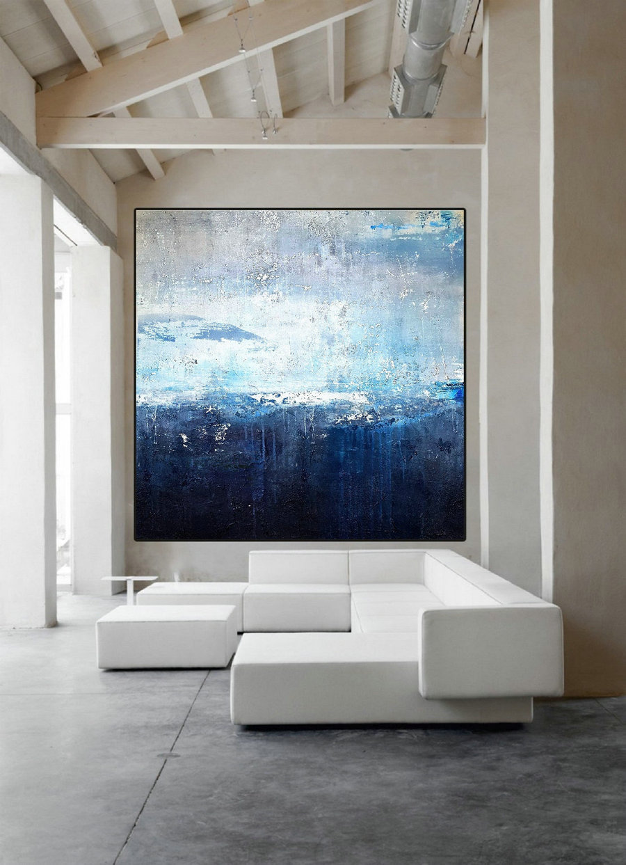 Original Deep Blue Sea Abstract Art Sky Landscape Painting,Sea Level Abstract Oil Painting,Abstract Art Oil Painting,Large Wall Sea Painting,Big Canvas