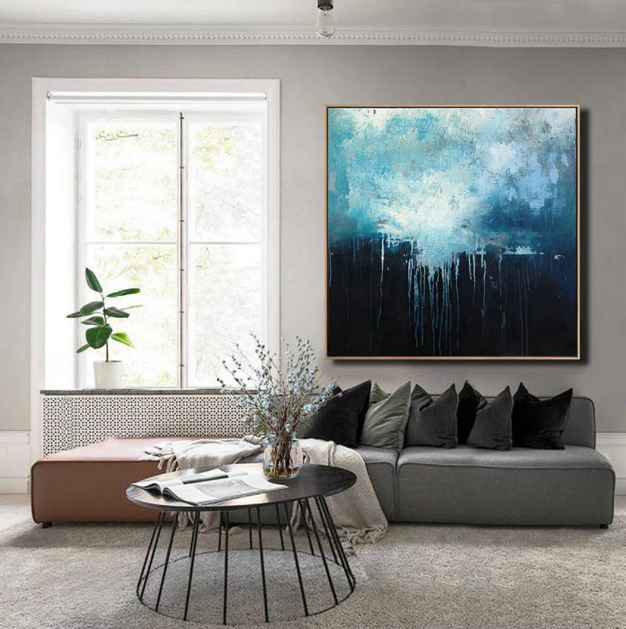 Large Blue Abstract Art Sky Landscape Oil Painting,Black Abstract Oil Painting,Abstract Art Oil Painting,Large Wall Blue Oil Painting,Personalized Canvas