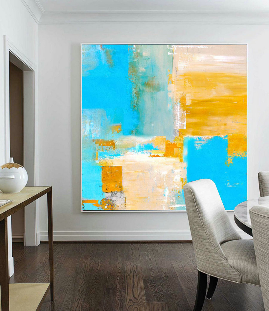 Super Texture Palette Abstract Oil Painting On Canvas, Light Blue Oil Painting, Orange Abstract Painting, Original Abstract Canvas Wall Art,Canvas Art Set