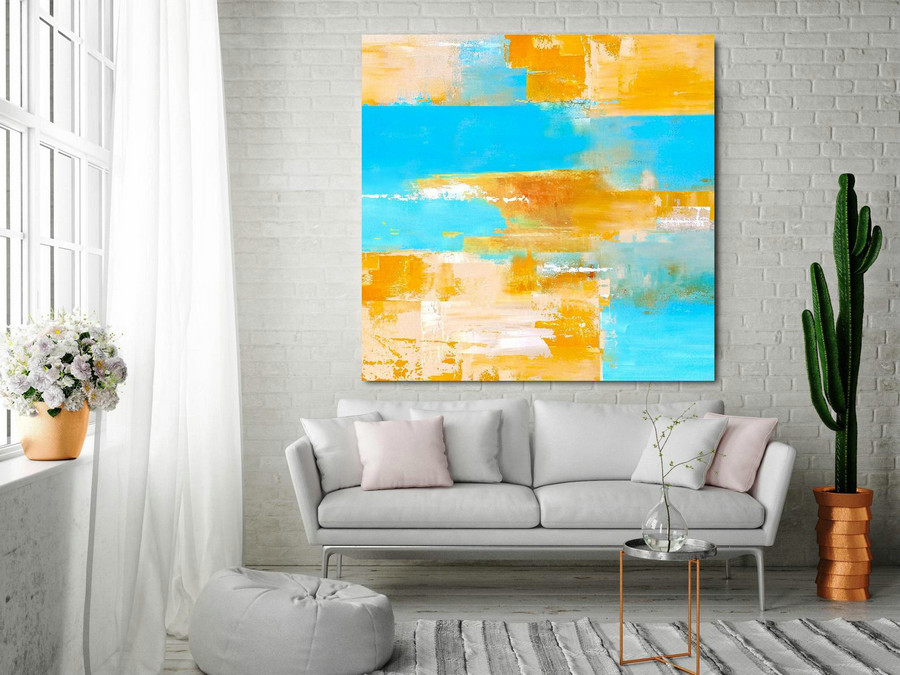 Large Color Abstract Painting On Canvas,Blue Abstract Painting Orange Abstract Painting,Abstract Canvas Wall Art Painting,Oil Painting,Oversized Artwork For Walls