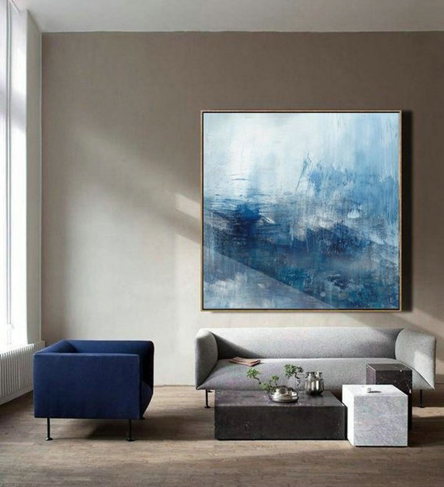 Original Sea Abstract Painting, Sea Landscape Painting, Blue Oil Painting,Large Wall Art Blue Abstract Painting,Large Waves Canvas Painting,Large Paintings For Living Room