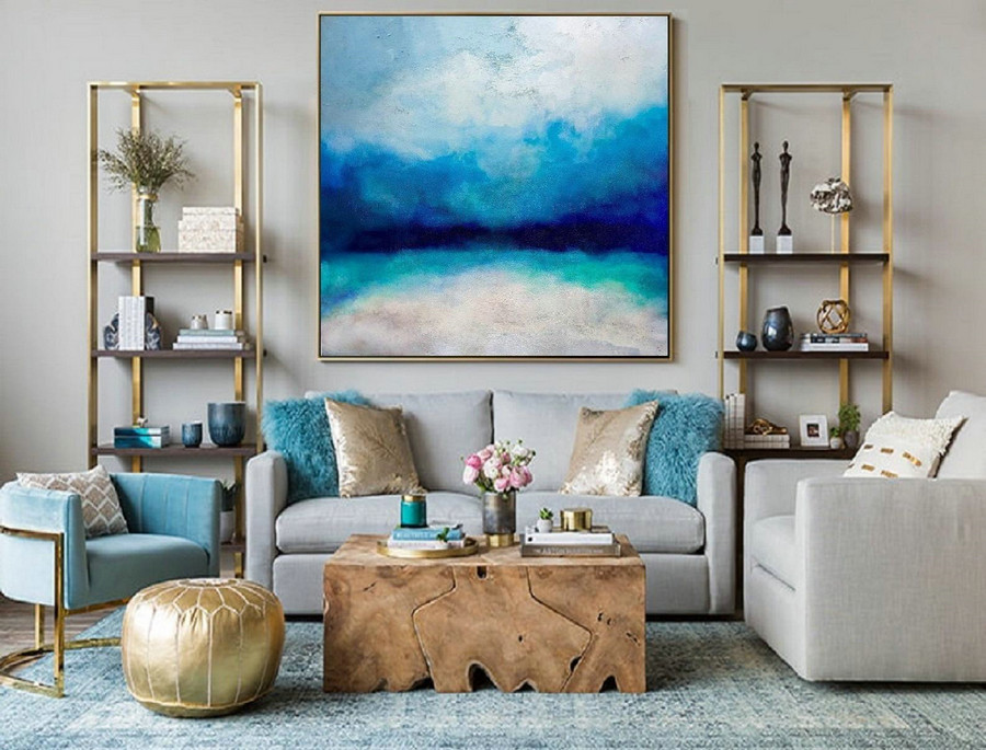 Large Ocean Canvas Oil Painting, Original Turquoise Sea And Blue Sky Landscape Painting, Sky Landscape Oil Painting, Large Wall Sea Painting,Oversized Art