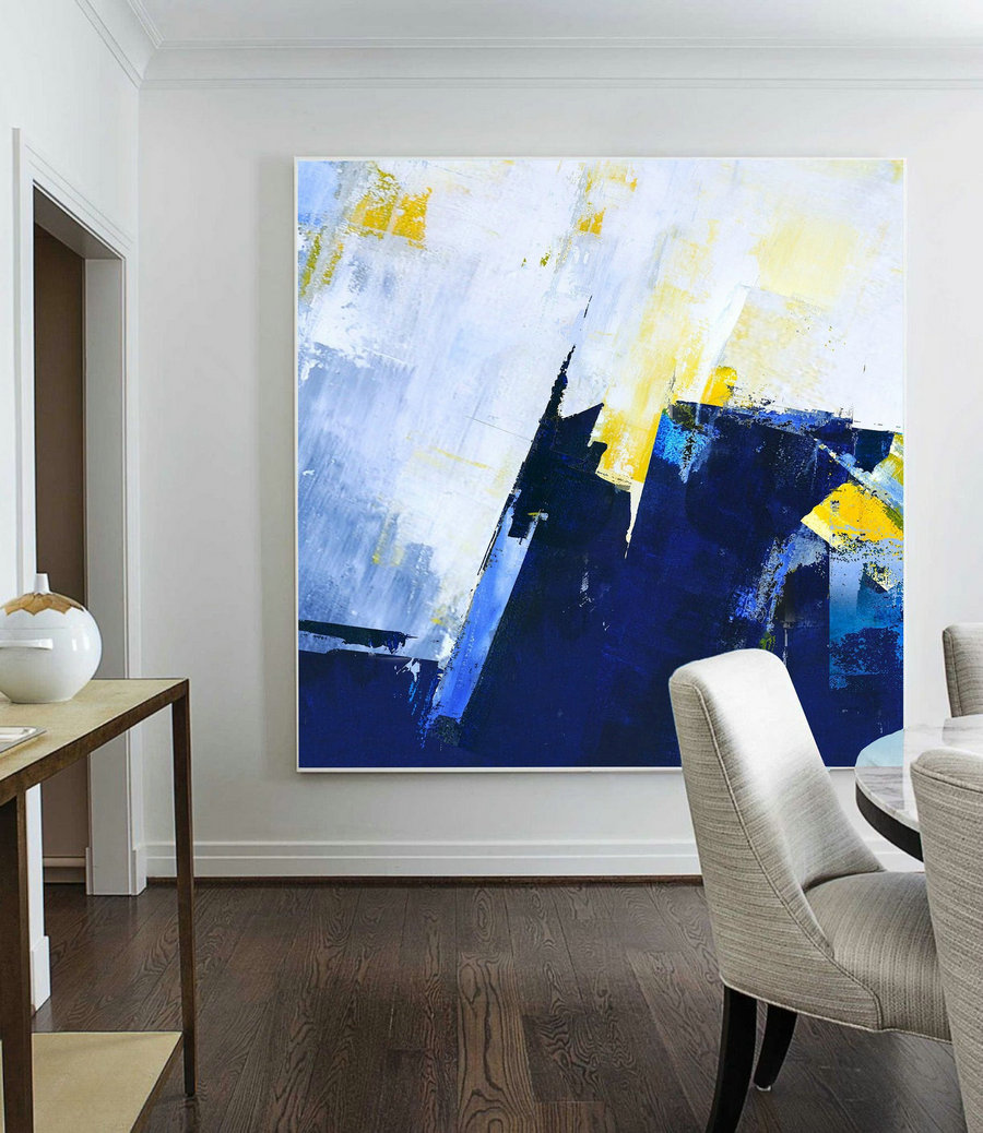 Large Abstract Blue Oil Painting,Super Texture Palette Abstract Oil Painting On Canvas,Abstract Painting,Blue Abstract Canvas Oil Painting,Wall Art For Sale