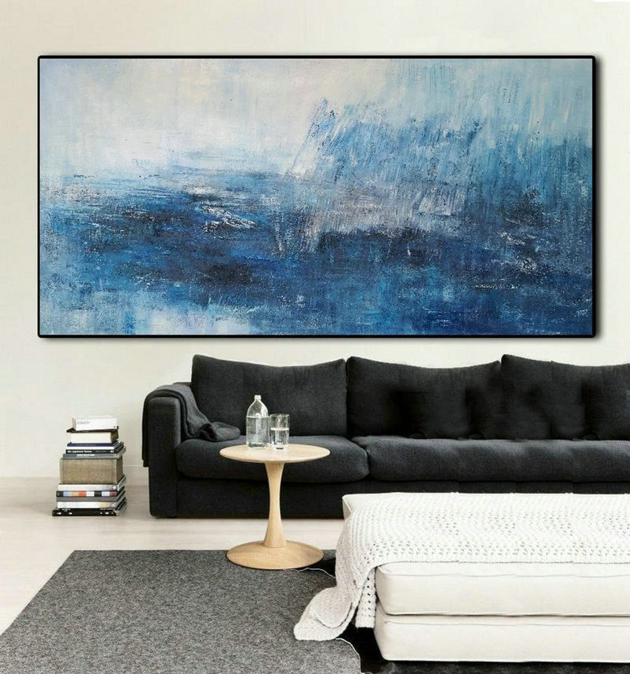 Large Blue Abstract Painting,White Abstract Art,Abstract Painting On Canvas,Original Abstract Art Painting,Large Wall Canvas Oil Painting,Cheap Canvas