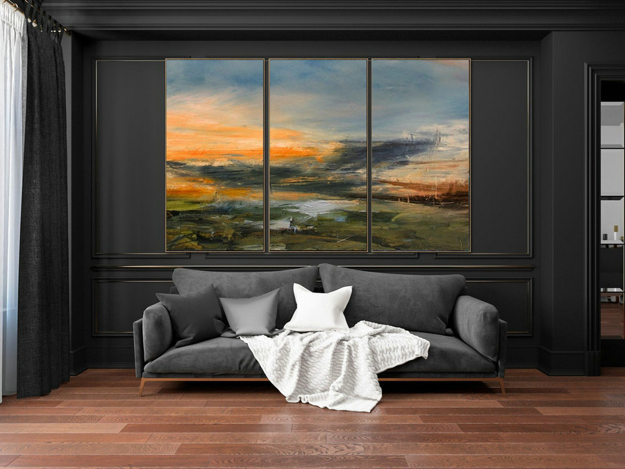 Minimalist Abstract Painting Of The Sky, Large Sky Landscape Painting, Large Wall Sky Abstract Painting, Convergent Sea Landscape Painting,Canvas Art Painting