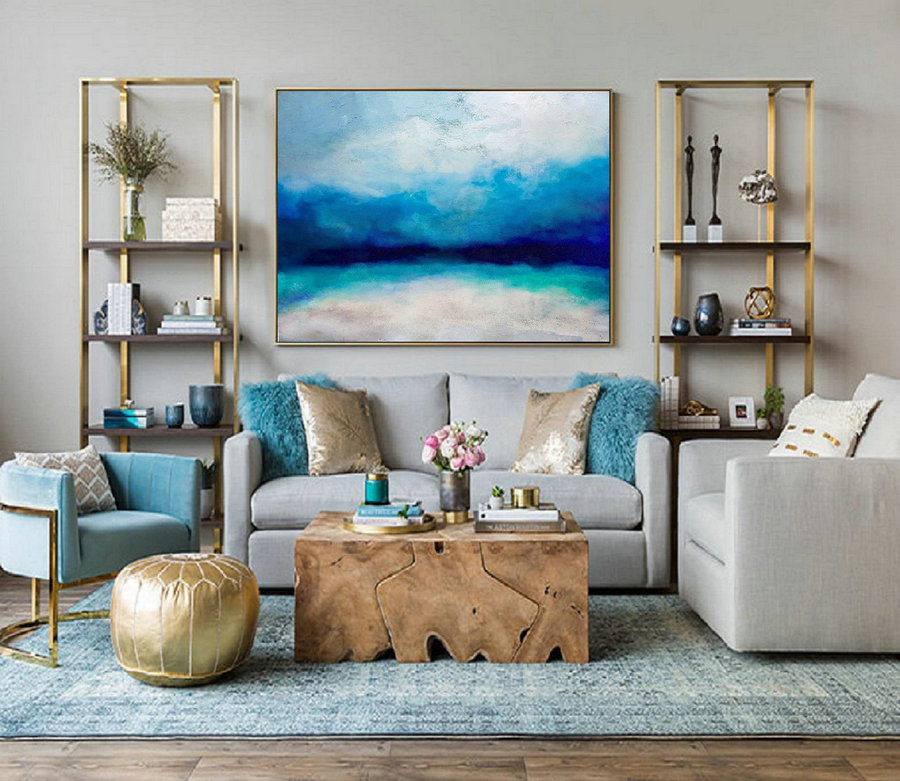 Large Wall Sea Painting, Large Ocean Canvas Oil Painting, Original Turquoise Sea And Blue Sky Landscape Painting, Sky Landscape Oil Painting,Extra Large Canvas