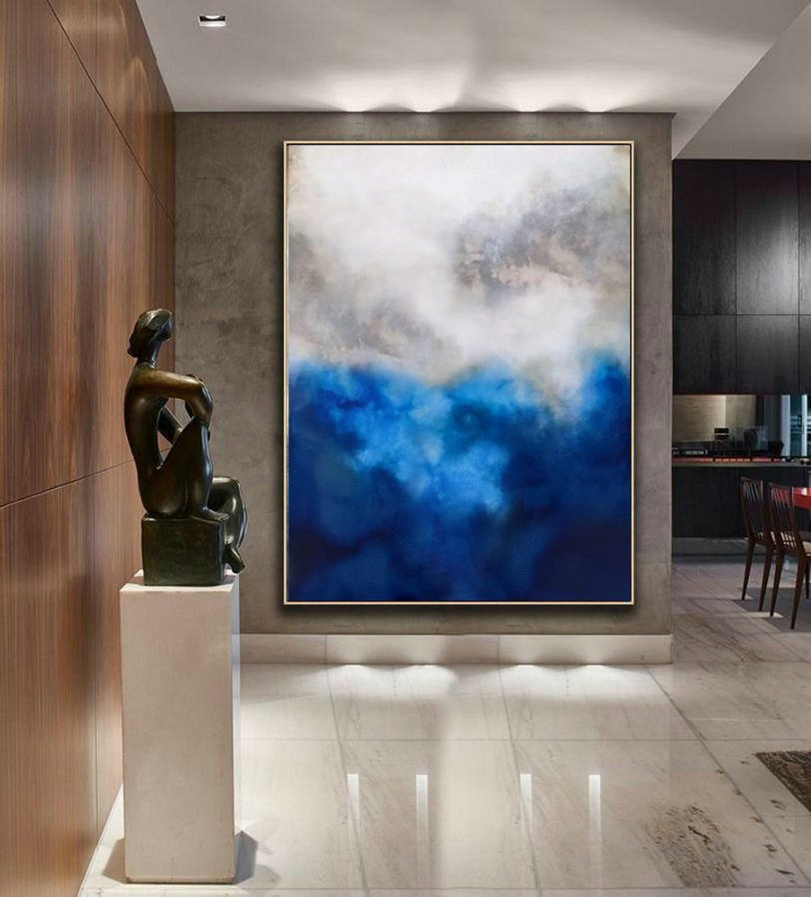 Original Blue Painting Abstract,Cloud Abstract Painting,Large Abstract Art,Living Room Art,Modern Abstract Art,Large Wall Canvas Painting,Large Wall Art For Living Room