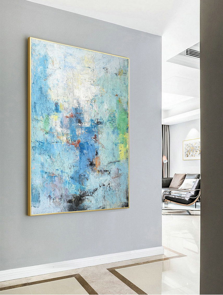 Large Dark Blue Abstract Painting,Blue Abstract Painting,Original Acrylic Abstract Painting,Canvas Abstract Art,Large Wall Canvas Painting,Cheap Large Canvas Wall Art