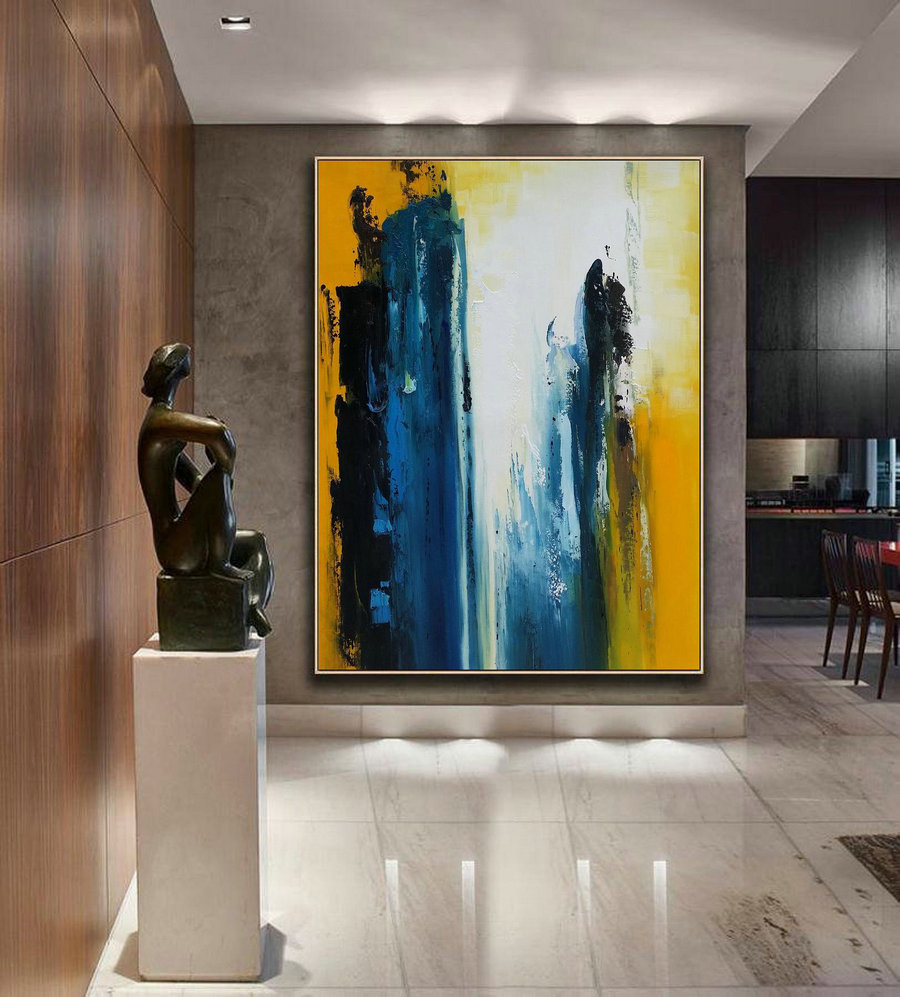 Original Blue Abstract,White Abstract Art,Black Abstract Painting,Yellow Abstract Painting,Nature Abstract Canvas Painting,Living Room Art,Digital On Canvas
