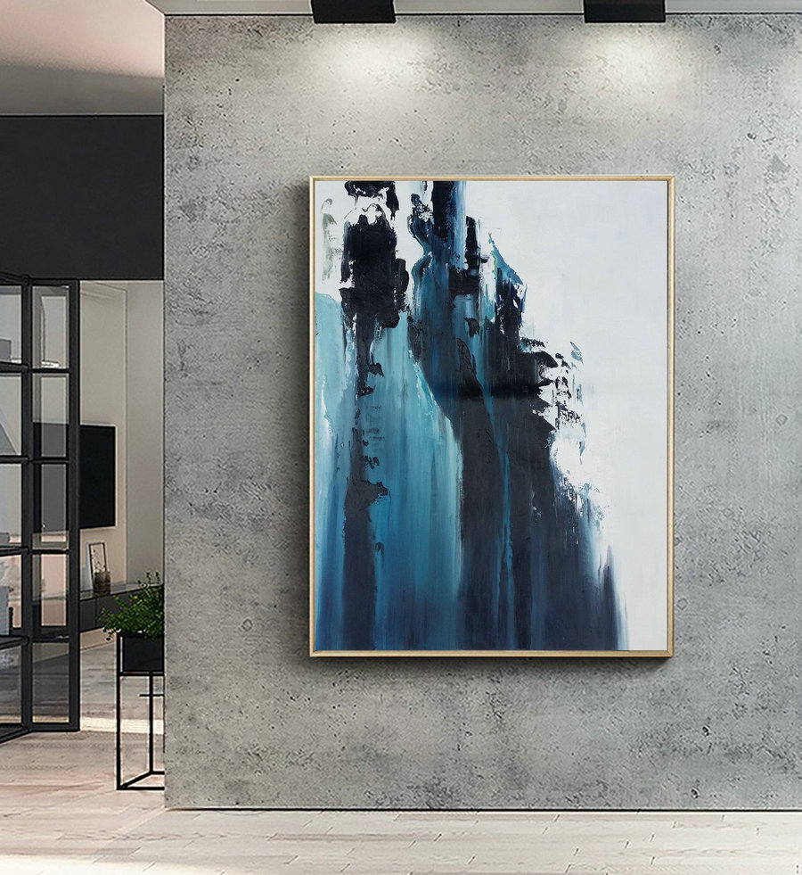 Large Dark Blue Abstract Painting,White Abstract Painting,Large Wall Decorative Art,Abstract Painting Of Giant Peak Landscape,Abstract Art,Big Wall Canvas