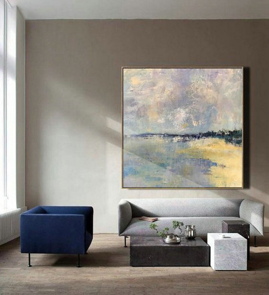 Original Sky And Sea Landscape Painting,Large Wall Grey Abstract Painting,Sea Level Abstract Oil Painting,Yellow Oil Painting,Abstract Art,Large Canvas Art