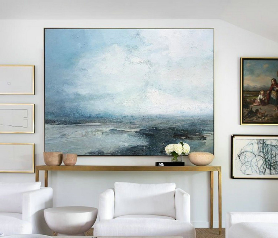Marine Landscape Painting,Large Sky And Ocean Painting,Original Sky And Sea Canvas Painting,Sky Landscape Painting,Large Wall Sea Painting,Black And White Canvas Art