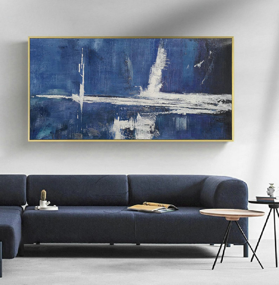 Large Blue Abstract Painting,White Abstract Art,Abstract Painting On Canvas,Original Abstract Art Painting,Large Wall Canvas Oil Painting,Green Canvas Art