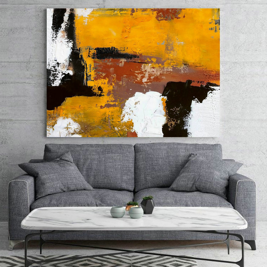 Original Burnt Orange Abstract Painting,Black White Abstract On Canvas Painting,Orange Painting,Large Wall Canvas Painting,Living Room Art,Extra Large Artwork