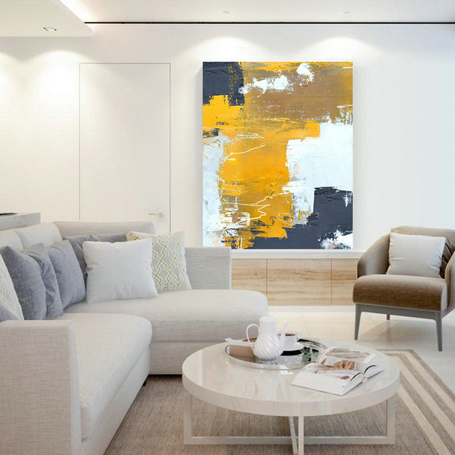 Original Orange Yellow Abstract Painting,Abstract Painting Canvas,Browm Abstract Painting,White Abstract Painting,Modern Living Room Art,Personalised Photo Canvas