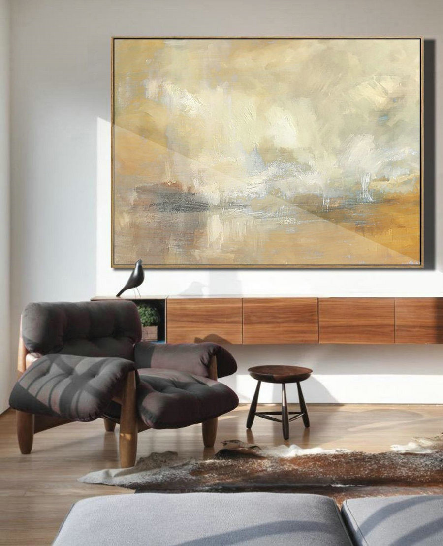 Original Beige Abstract Canvas Painting,Large Sky Landscape Painting,Beige Yellow Painting Abstract,Large Cloud Oil Painting On Canvas,Large For Sale