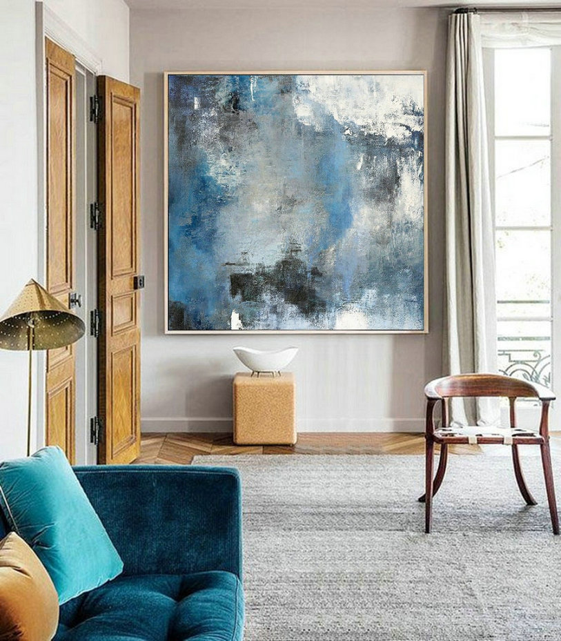 Original Abstract Art Painting,Blue White Abstract Paintin,Large Cloud Canvas Oil Painting,Abstract Art,Modern Abstract Art,Living Room Art,Large Wall Art Cheap