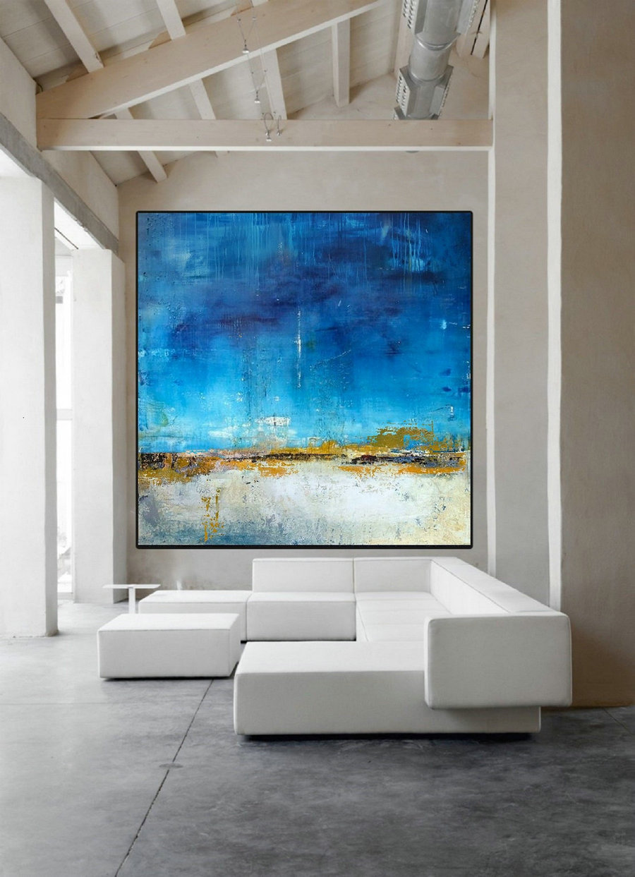 Original Blue Sky Abstract Painting,Sea Level Abstract Oil Painting,Abstract Art,Large Wall White Abstract Art Painting,Sea Oil Painting,Large Abstract Canvas Art