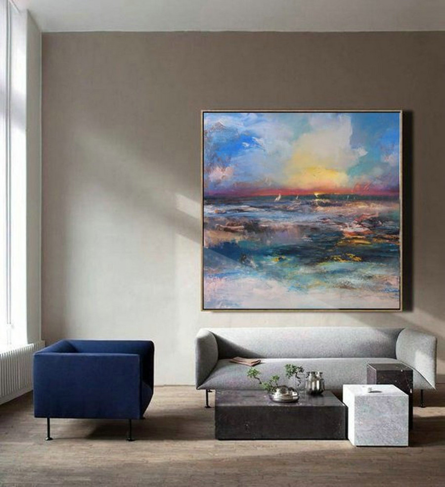 Original Sea Level Landscape Painting,Large Wall Sky Sea Painting,Sea Level Painting Of Large Sunrise Landscape,Sea Landscape Painting,Large Art For Walls