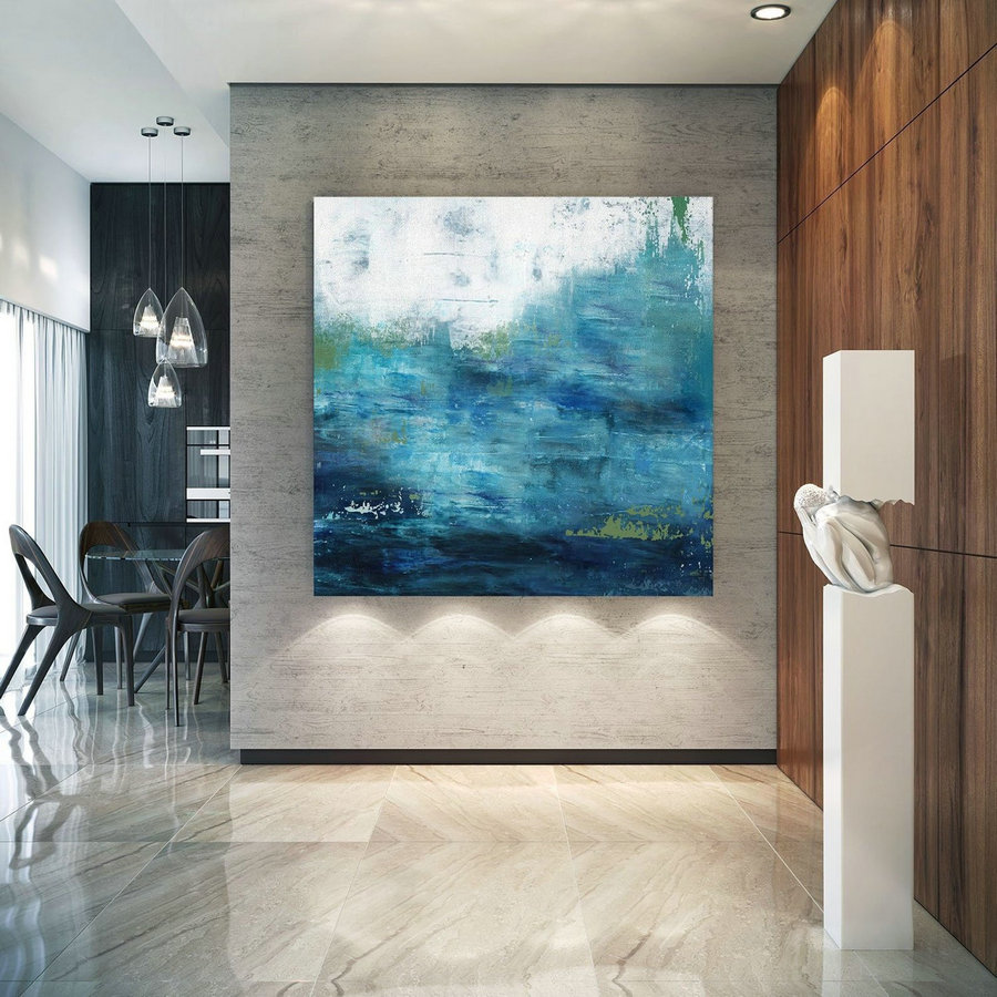 Large Ocean Canvas Oil Painting,Original Blue Sea Abstract Oil Painting,Large Wall Seascape Oil Painting,Sea Landscape Abstract Oil Painting,Giant Art