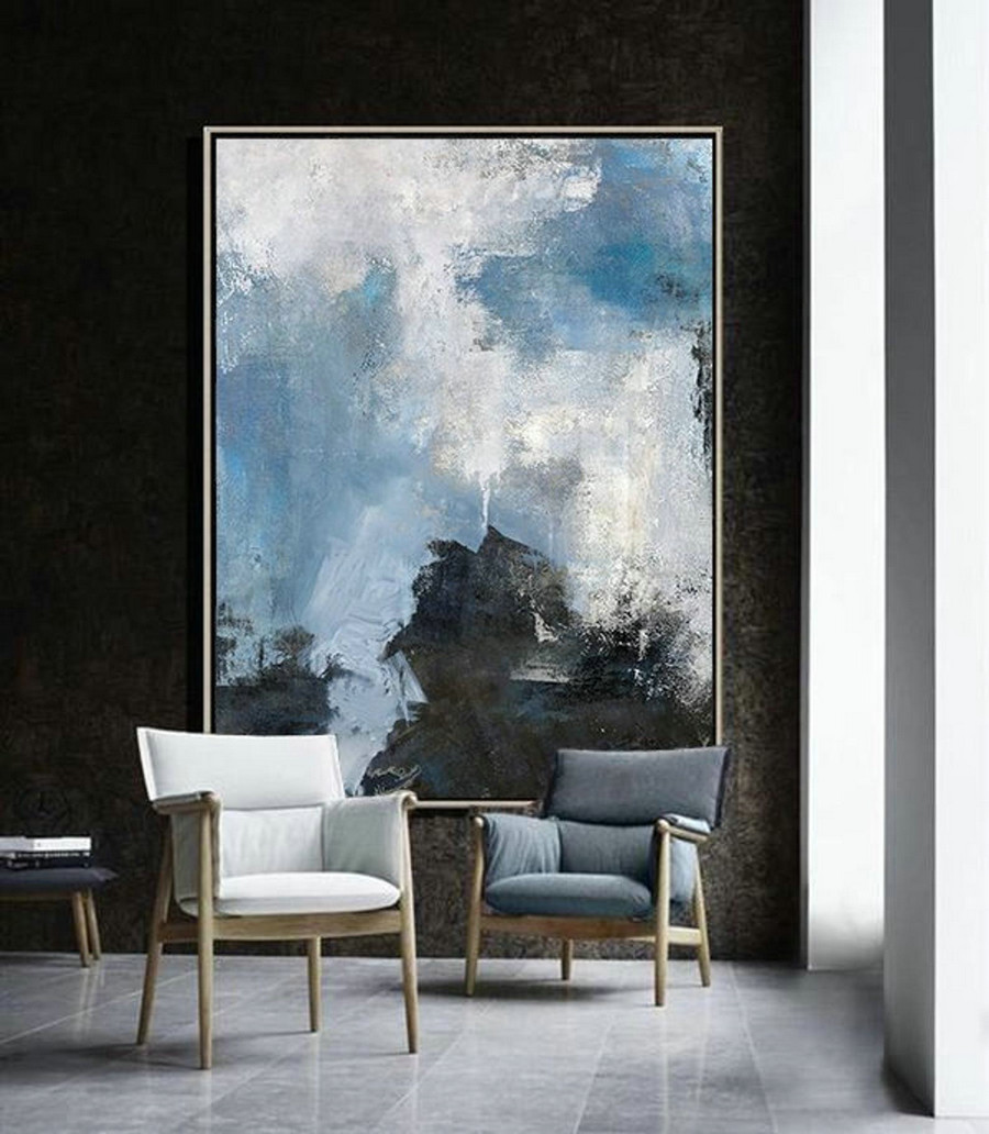 Original Cloud Abstract Painting,Sky Landscape Abstract Oil Painting,Large Canvas Painting,Living Room Wall Art,Modern Abstract,Handmade Art,Big Canvas Painting