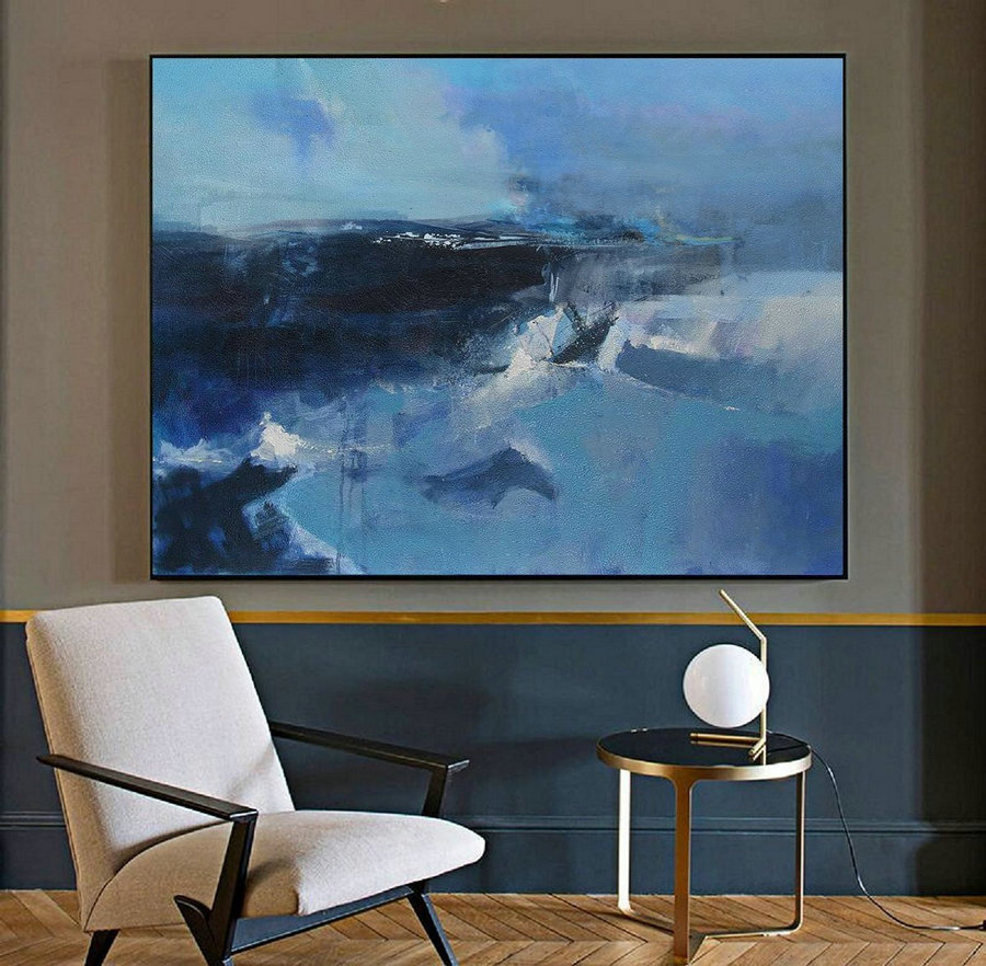 Original Deep Blue Sea Abstract Painting,Large Wall Canvas Painting, Large Abstract Painting,Large Abstract Art, Abstract Painting On Canvas,Artwork For Sale