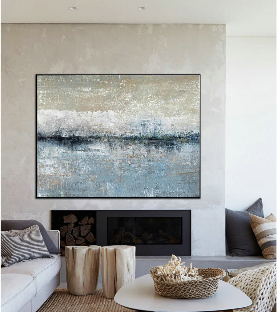 Original Large-Scale Landscape Abstract Painting, Blue Ocean Abstract Painting, Sea And Sky Landscape Painting, Beige Abstract Oil Painting,Oversized Canvas Wall Art