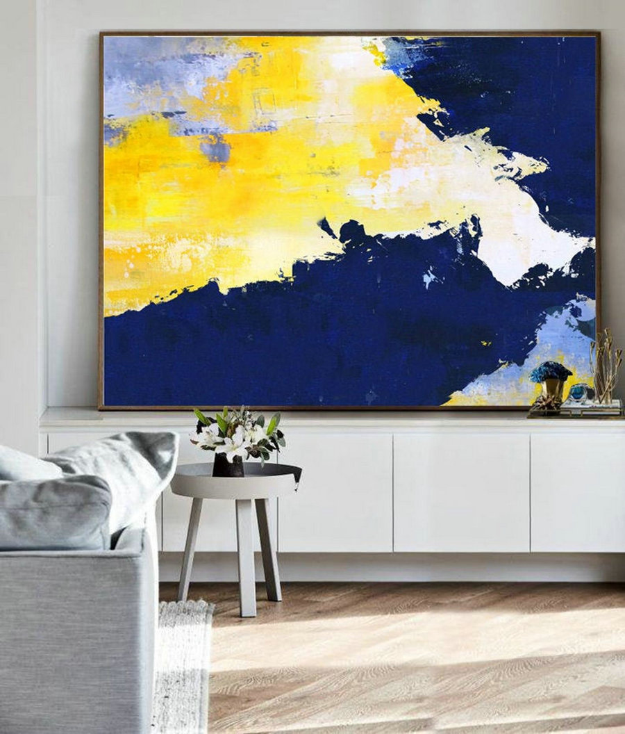 Original Yellow Abstract Painting,Abstract Art Canvas Painting,Large Blue Abstract Painting, White Abstract Painting, Living Room Art,Extra Large