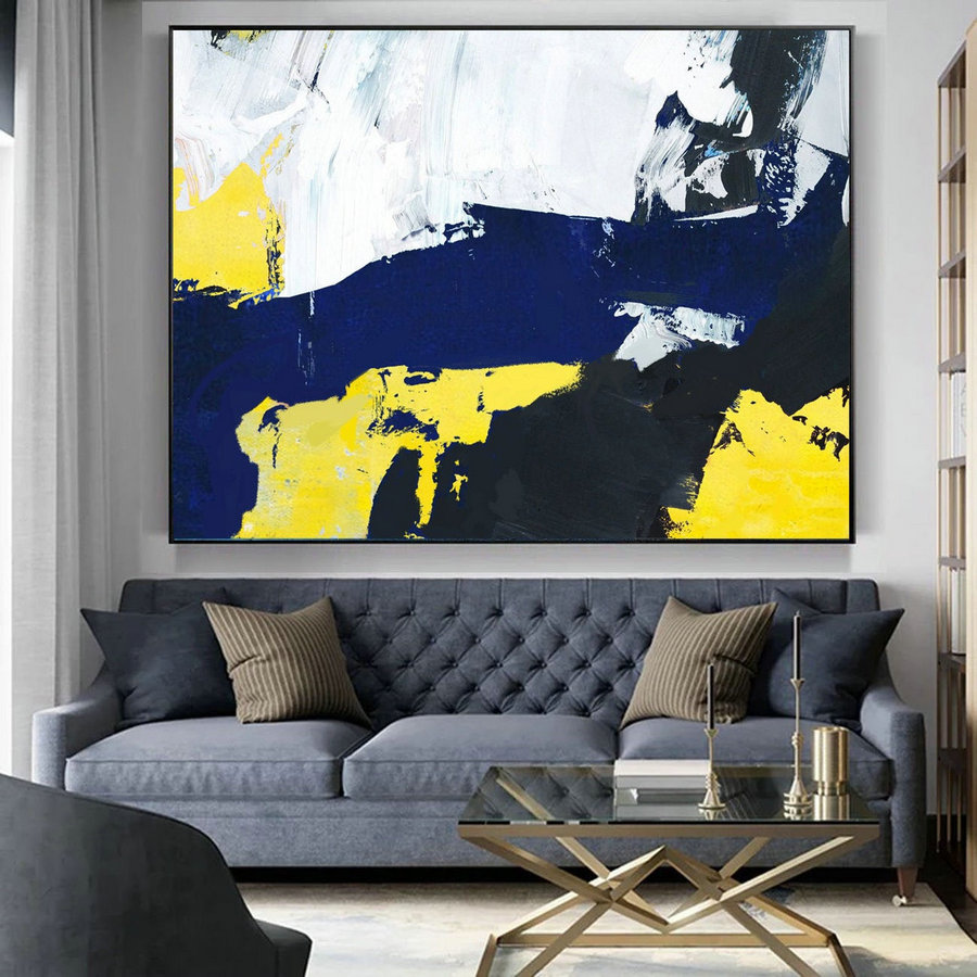 Original Abstract Art Canvas Painting,Large Blue Abstract Painting, Black White Abstract Painting, Yellow Abstract Painting, Great Wall Art,Framed Canvas Art