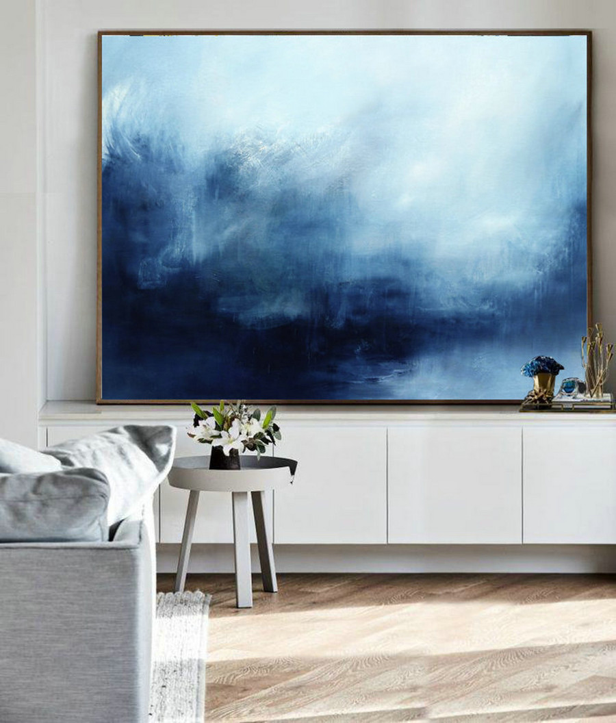 Abstract Landscape Painting, Sky And Sea Painting, Original Sky Abstract Painting, Deep Blue Sea Landscape Painting, Large Wall Sea Painting,Extra Large Art