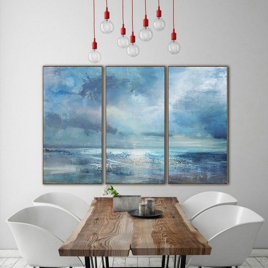 Marine Landscape Oil Painting,Large Wall Canvas Painting,Large Cloud Abstract Art Painting On Canvas,Large Wall Art Sea View Oil Painting,Extra Large Art