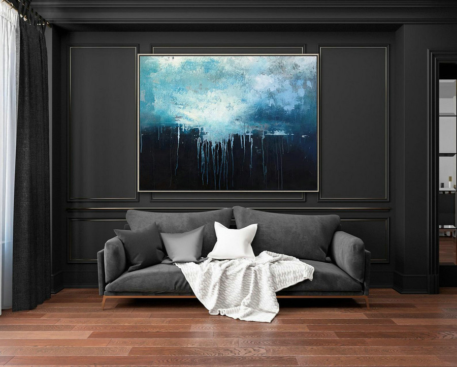 Large Dark Blue Abstract Art Sky Landscape Oil Painting,Black Abstract Oil Painting,Abstract Art Oil Painting,Large Wall Blue Oil Painting,Modern Canvas Wall Art