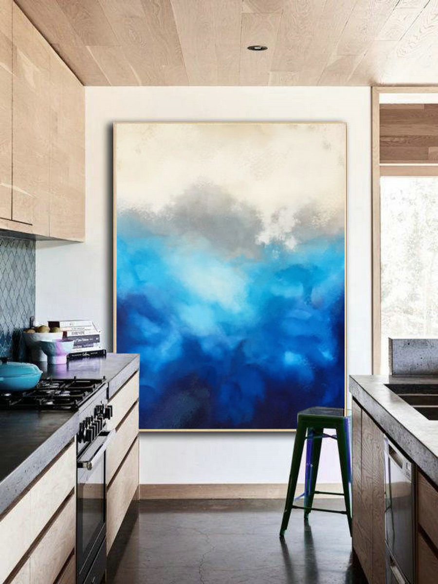 Large Cloud Abstract Painting,Original Blue Painting Abstract,Large Wall Canvas Painting,Abstract Sky Painting,Abstract Art,Living Room Art,Abstract Art For Sale