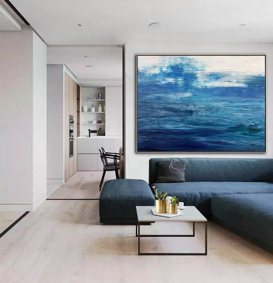 Original Blue Sea Canvas Painting,Dark Blue Ocean Painting,Blue Wave Painting,Large Abstract Art Painting On Canvas,Ocean Landscape Painting,Outdoor Canvas Art