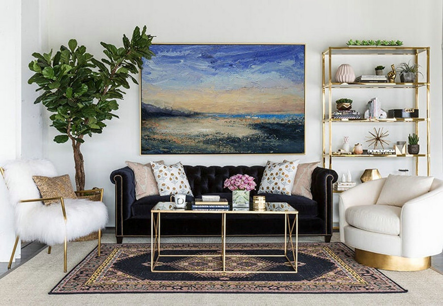 Large Wall Canvas Oil Painting,Original Abstract Art Painting,Large Abstract Sky Painting,Large Ocean Beach Oil Painting,Large Abstract Art,Large White Canvas