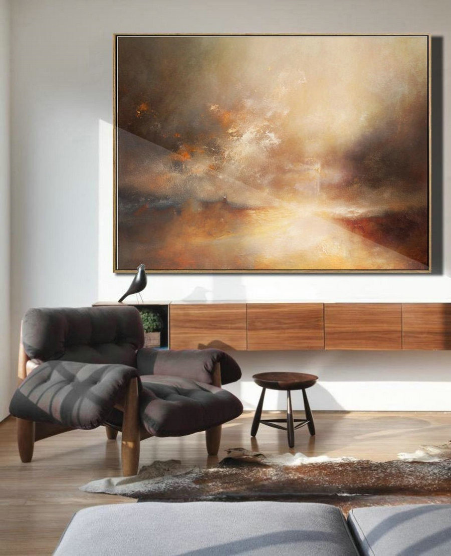 Original Sky Abstract Painting, Large Cloud Painting, Large Sky Landscape Painting, Beige Painting Abstract, Large Cloud Painting On Canvas,Large Cheap