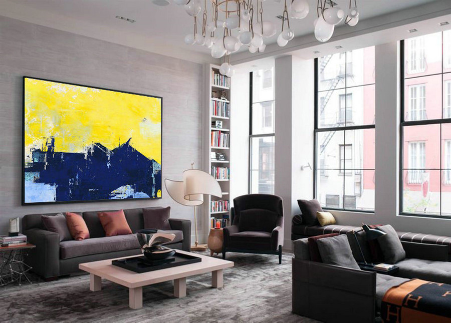 Original Abstract Canvas Wall Art Painting, Super Texture Palette Abstract Oil Painting On Canvas,Blue Abstract Painting,Yellow Oil Painting,Large Paintings For Sale