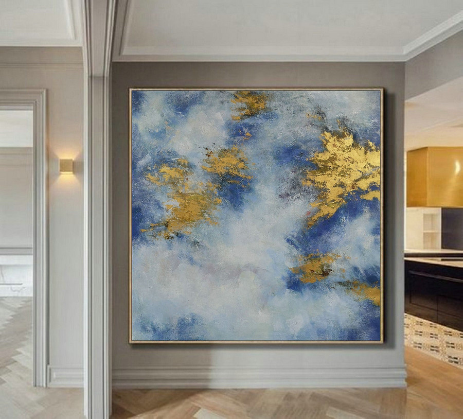 Original Abstract Canvas Wall Art Office Decor, Cloud Abstract Painting, Large White Gold Abstract Art Oil Painting On Canvas, Gold Painting,Large Canvas Art For Sale