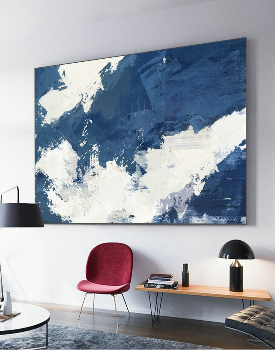 Original Blue Abstract Painting, White Abstract Painting, White Cloud Painting, Abstract Art Painting, Large Abstract Painting On Canvas,Buy Canvas