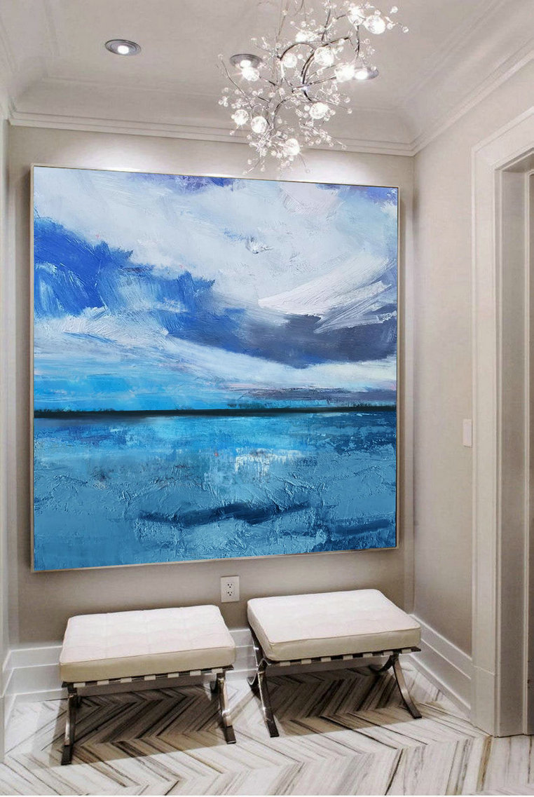 Large Original Sea Level Blue Oil Painting,Large Wall Art Light Blue Sky Oil Painting,Sky Landscape Painting,Large Ocean Canvas Oil Painting,Huge Canvas