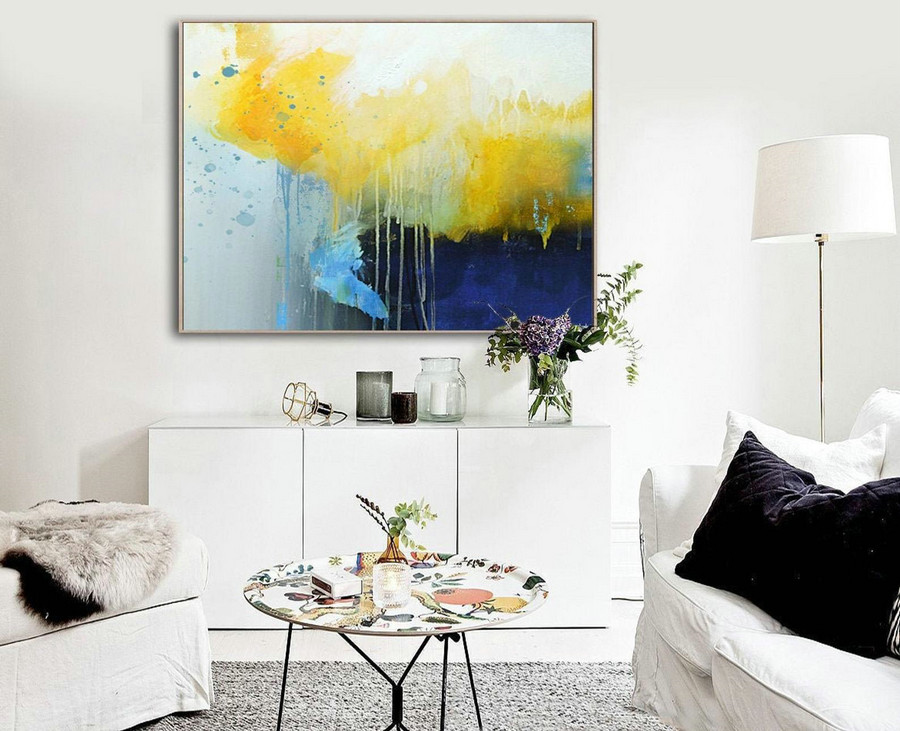 Deep Blue Abstract Canvas Painting, Large Yellow Painting,Minimalist Abstract Painting,Dining Room Art Painting,Canvas Abstract Oil Painting,Large Painting Canvas