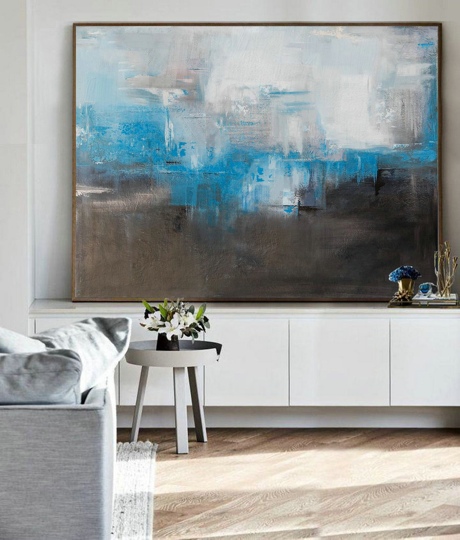 Large Oil Painting, Blue Abstract Painting, Gray Painting, Black White Abstract Painting, Original Canvas Painting,Contemporary Art Abstract,Large Art