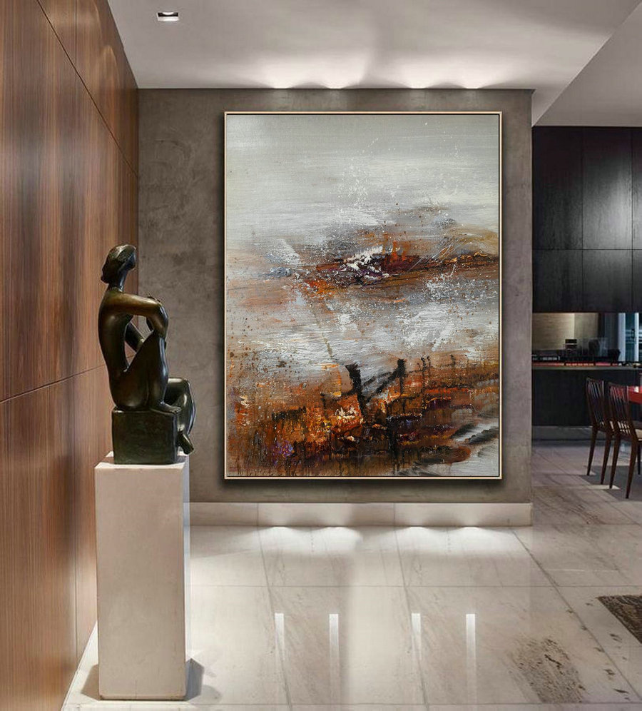 Large Abstract Art, Original Abstract Painting, Large Gray Whtie Abstract Painting, Nature Abstract Painting, Large Wall Canvas Painting,Canvas Art Online