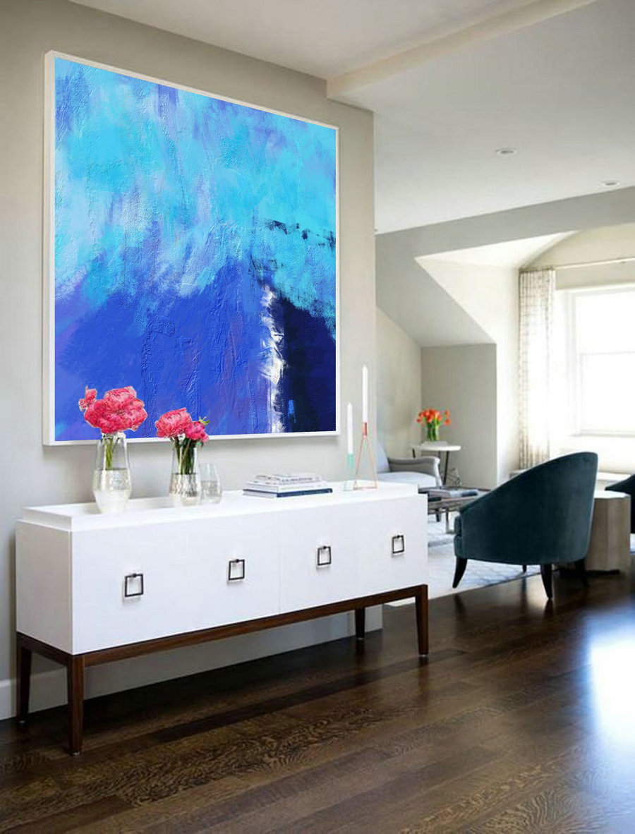 Deep Blue Abstract Canvas Painting,Large Blue Painting,Minimalist Abstract Painting,Canvas Abstract Oil Painting,Dining Room Art Painting,Oversized Artwork