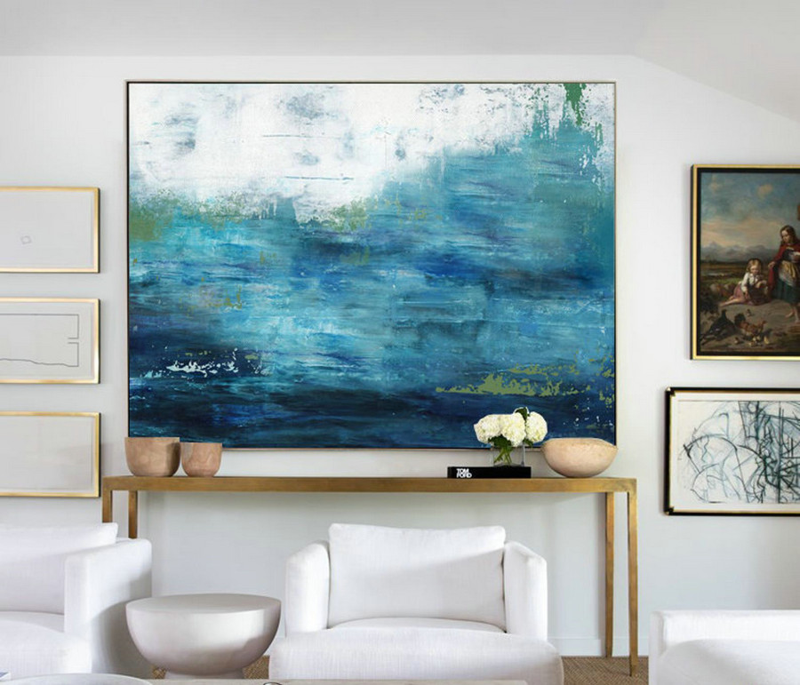 Large Ocean Canvas Oil Painting, Large Wall Sea Painting, Original Turquoise Sea And Blue Sky Landscape Painting, Sky Landscape Oil Painting,Custom Canvas