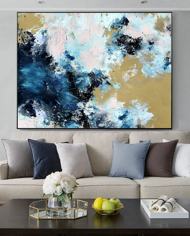 Large Cloud Abstract Art Painting,Large Abstract Painting,Sky Abstract Oil Painting On Canvas,Blue Abstract Art Canvas Painting,Extra Largeart
